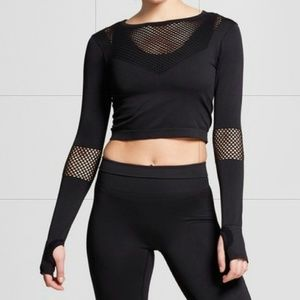 MESH PLUNGE COMPRESSION CROP TOP w/ THUMB HOLES